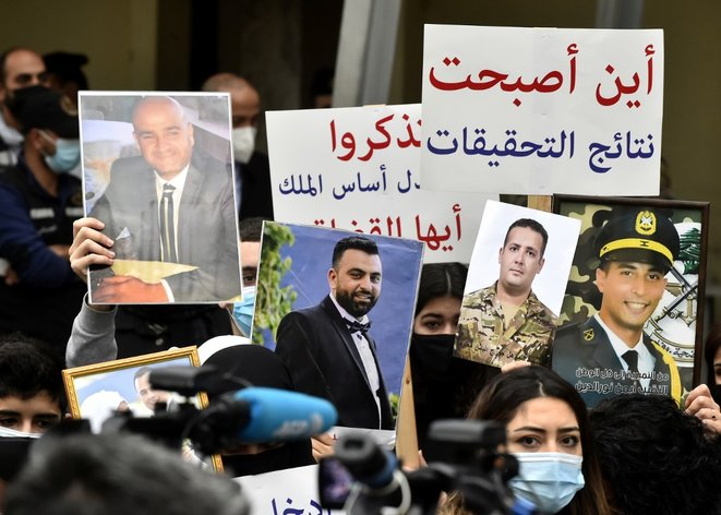 Manifestation de des proches des victimes de l'explosion du port à Beyrouth le 4 février. © Houssam Shbaro/ANADOLU/AFP