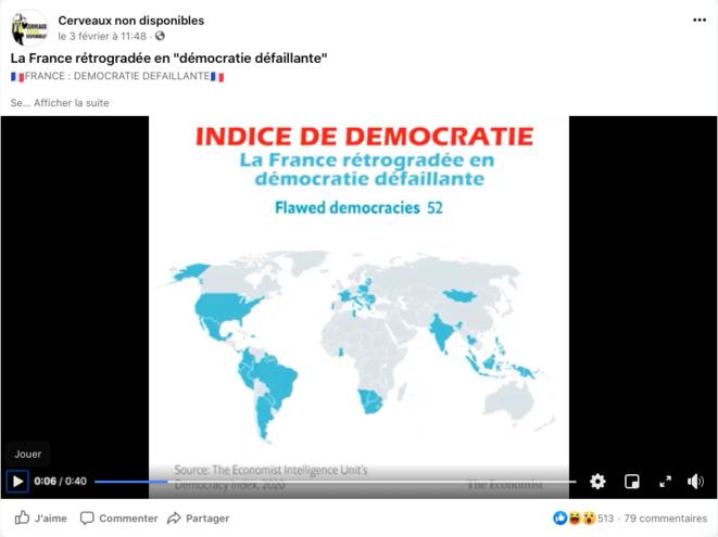 """Macron a rétrogradé notre pays au rang de """"Démocratie imparfaite"""""""