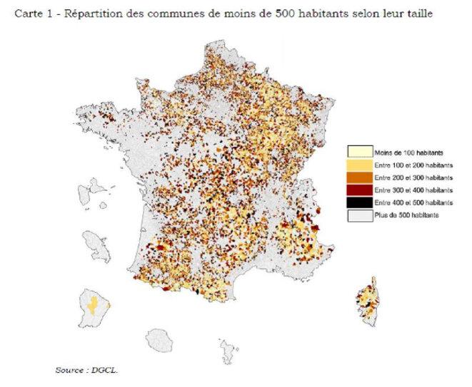 Les 17'000 communes françaises de moins de 500 habitants,