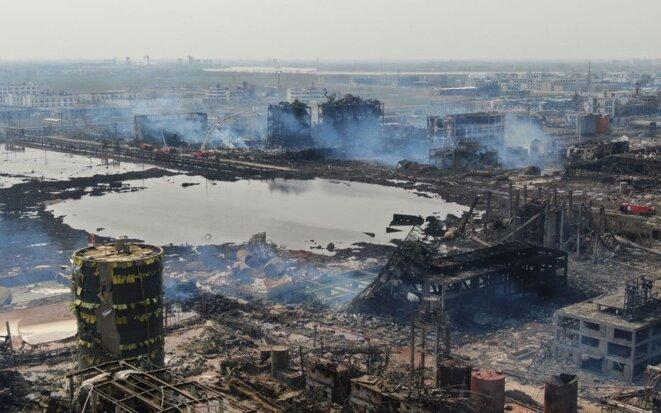 L'usine chimique de Yancheng après l'explosion en 2019 © AFP