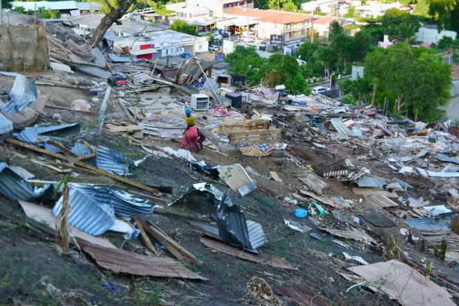 Destruction du quartier Recto/Verso dit terrain Batrolo, Kaweni, Mamoudzou, décembre 2018 © daniel gros