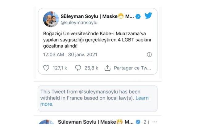 Tweet de Süleyman Soylu, ministère de l'Intérieur de Turquie