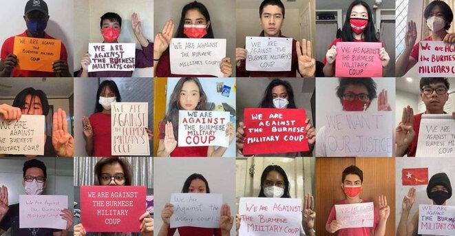 Les étudiants, seules personnes à réussir à contourner la censure sur internet, manifestent leur colère sur les réseaux sociaux. © Khant Wai Yan