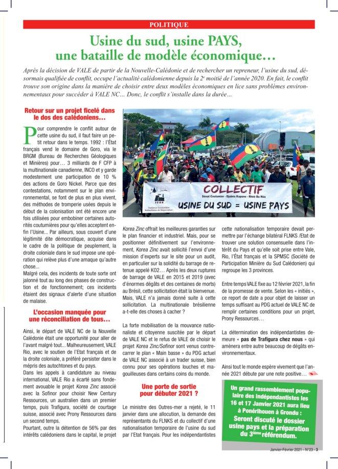 Page 3 : Usine du Sud, usine pays, une bataille de modèle économique © La voix de Kanaky 23, janvier-février 2021