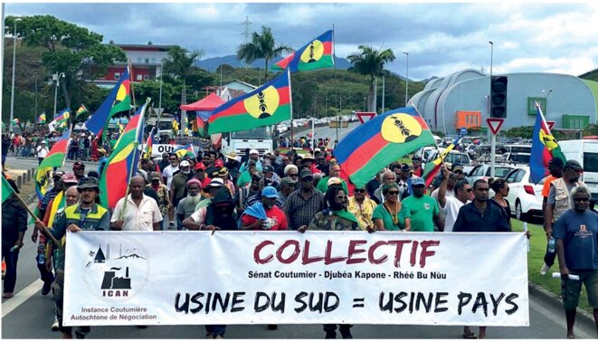 Manifestation ICAN Collectif Sénat coutumier - Djubéa Kaponé - Rhéébù nùù © La voix de Kanaky