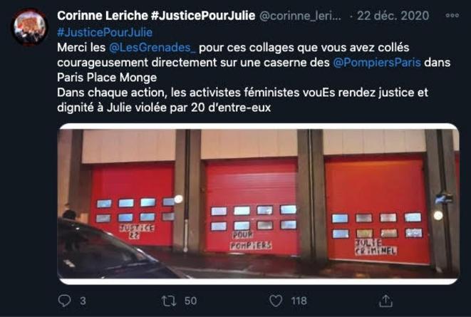 Les Grenades - Collage caserne pompiers Place Monge Paris © Corinne Leriche