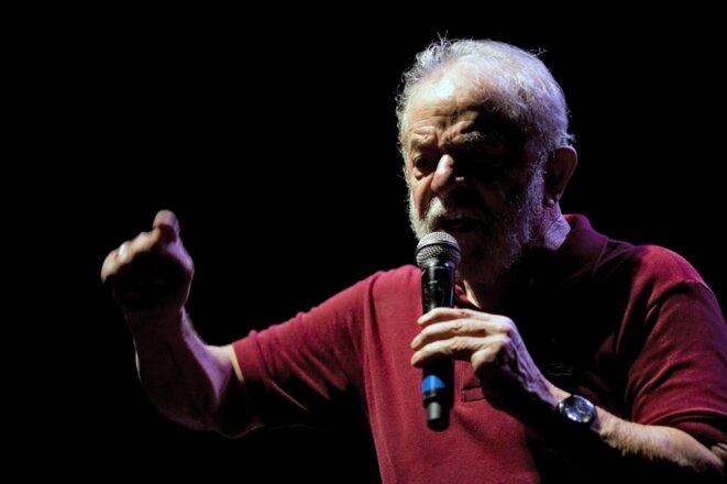 Lula, lors du quarantième anniversaire du Parti des travailleurs, en février 2020. © DANIEL RAMALHO / AFP