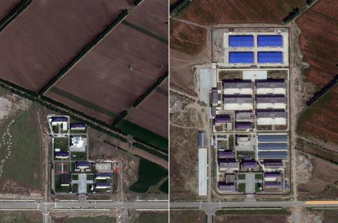 Ziawudun a identifié ce site - répertorié comme une école - comme l'endroit où elle était détenue. Les images satellites de 2017 (à gauche) et de 2019 (à droite) montrent un développement significatif typique des camps, avec ce qui ressemble à des dortoirs et des bâtiments d'usine