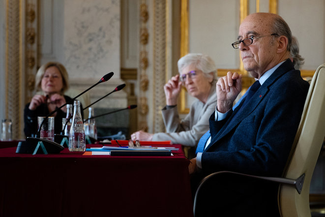 Alain Juppé, French foreign affairs minister in 1994, seen here in May 2020 at France's Constitutional Council where he now sits. © JOEL SAGET / AFP