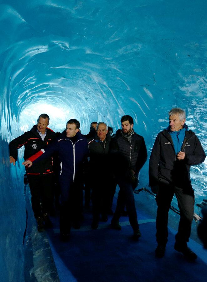 Emmanuel Macron visite la mer de Glace, dans le Mont Blanc, le 13 février 2020 (Denis Balbouse, AFP).
