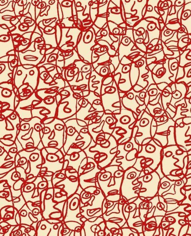 Untitled (Abstraction with Red Faces), 1980 © Jean Dubuffet