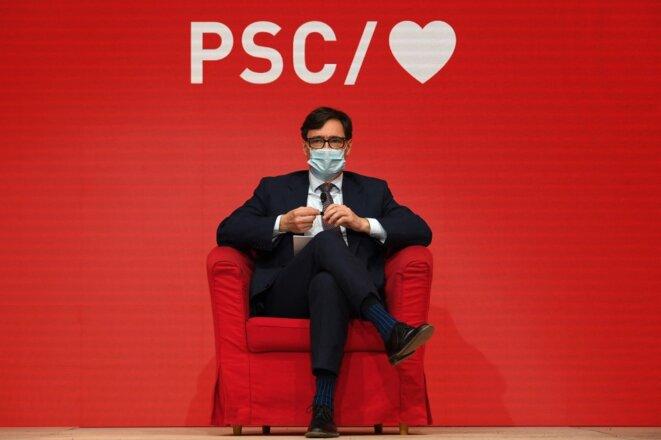 Salvador Illa, le candidat socialiste, lors d'un meeting à Barcelone, le 29 janvier 2021. © Lluis Gene / AFP