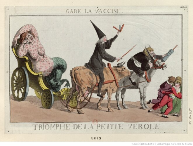 « Gare la vaccine », estampe, caricature (fin du XVIIIe-début du XIXe siècle). © Gallica (BnF)