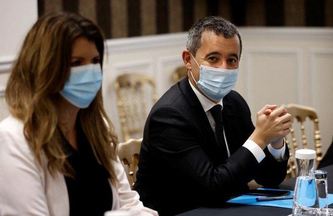 Marlène Schiappa et Gérald Darmanin. © Thomas Coex/AFP