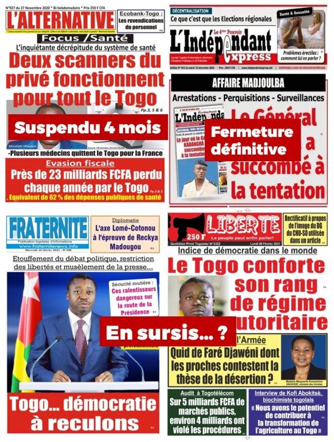 La presse togolaise de plus en plus agressée par le pouvoir RPT/UNIR, L'indépendant Express fermé définitivement, L'alternative suspendue 4 mois, une certains nombre de journaux critiques en sursis...