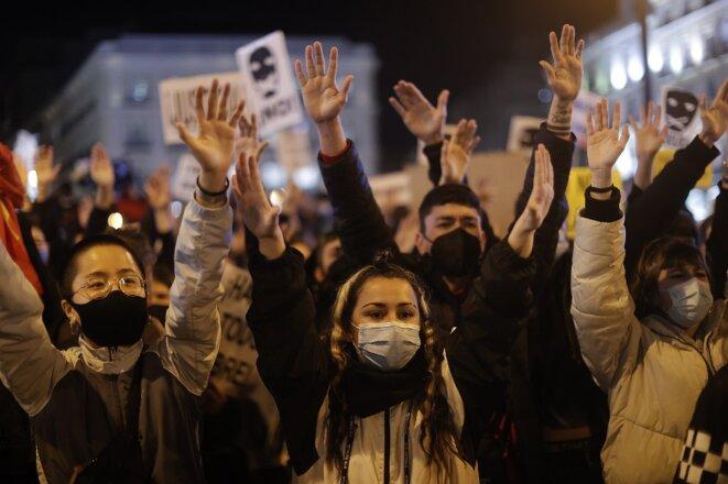 À Madrid, plaza Puerta del Sol le 17 février 2021. © Burak Akbulut / Anadolu Agency - AFP