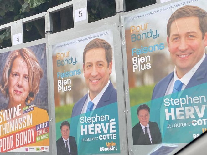Des panneaux électoraux à Bondy, en juin 2020. © Facebook / Stephen Hervé