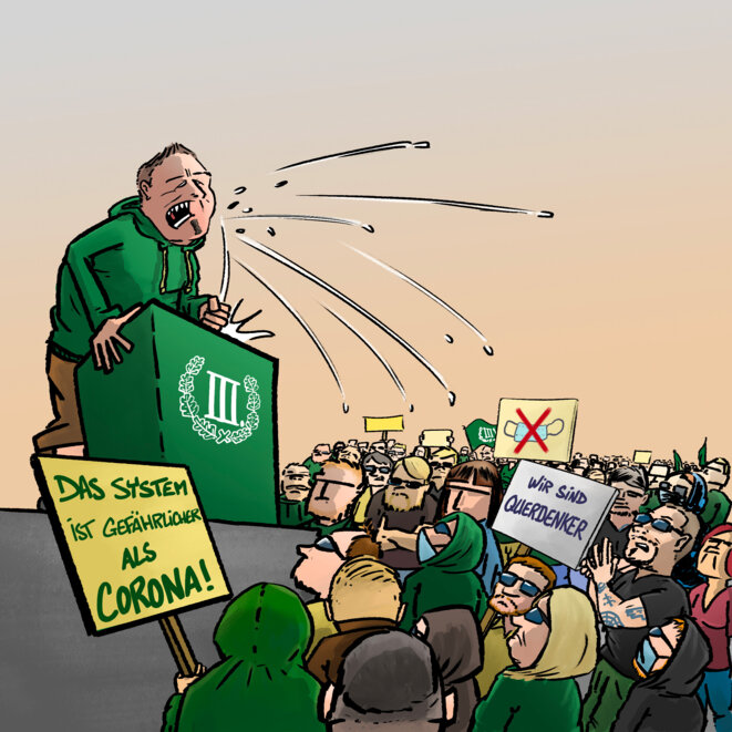 «Le système est plus dangereux que le coronavirus», «Nous sommes des libres penseurs», disent les pancartes. © Piet