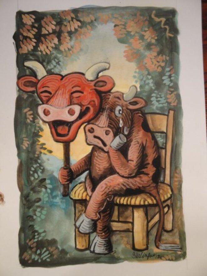 Même la Vache qui rit a le masques! © Burlingue(Xavier Bureau)
