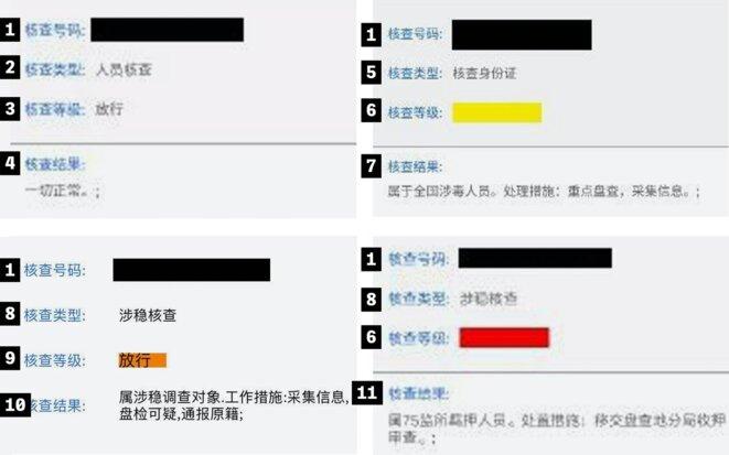 """Quatre personnes sont signalées avec des """"niveaux d'inspection"""" de différentes couleurs, en fonction de la perception qu'ont les autorités de leur dangerosité.  Captures d'écran: Obtenues par The Intercept"""