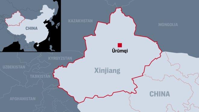 La base de données obtenue par The Intercept contient les rapports de police d'Ürümqi, la capitale et la plus grande ville de la région autonome ouïghoure du Xinjiang en Chine.  Carte: Soohee Cho/The Intercept