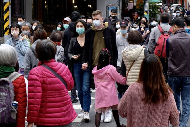Dans les rues de Taipei, capitale de Taïwan, le 2 février. © Sam Yeh / AFP