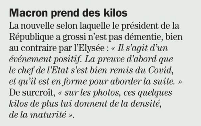 """""""Macron prend des kilos"""" - 18/02/21 © Challenges"""