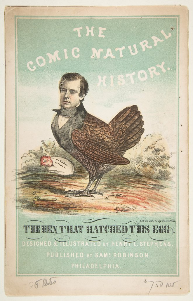 The Hen That Hatched This Egg (la poule qui a pondu l'œuf), The Comic Natural History of the Human Race, 1851 © Henry Louis Stephens, Met Museum. https://www.metmuseum.org/art/collection/search/395432