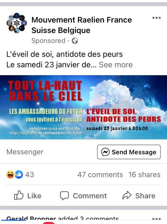 Capture d'écran mettant en évidence l'achat d'espace publicitaire sur Facebook par le mouvement Raëlien © Mathieu Repiquet