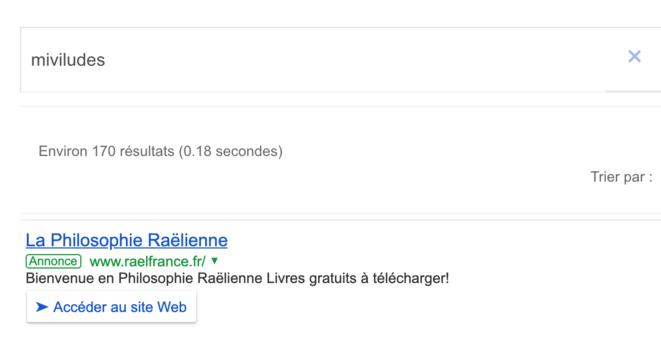Capture d'écran mettant en évidence l'achat d'espace publicitaire sur Google par le Mouvement Raëlien lors de la requête « Miviludes » © Mathieu Repiquet