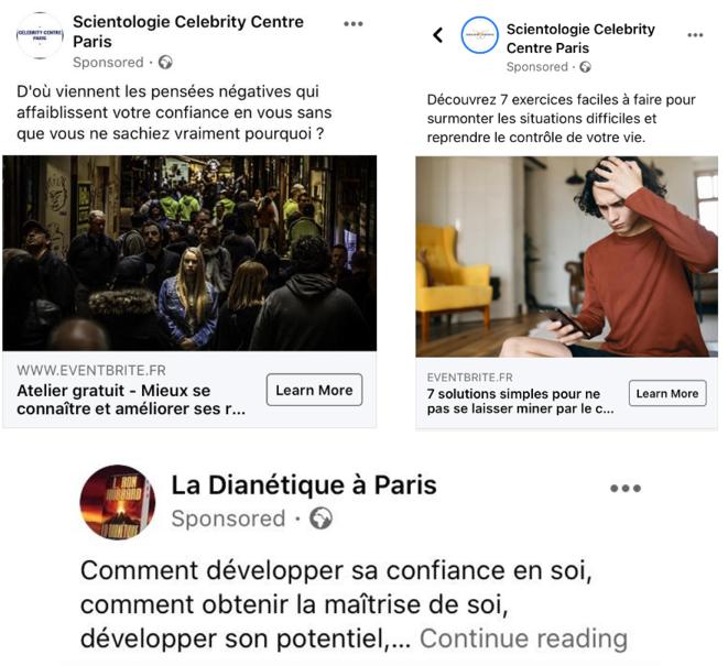 Captures d'écrans de publications sponsorisées de la Scientologie sur Facebook © Mathieu Repiquet