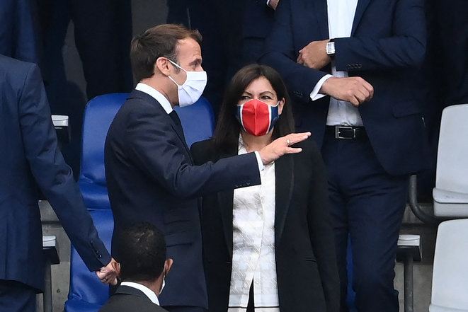 President Emmanuel Macron and Paris mayor Anne Hidalgo on July 24th 2020. © Franck Fife/AFP