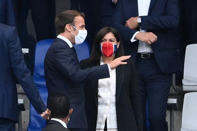 Emmanuel Macron et Anne Hidalgo, le 24 juillet 2020. © Franck Fife/AFP