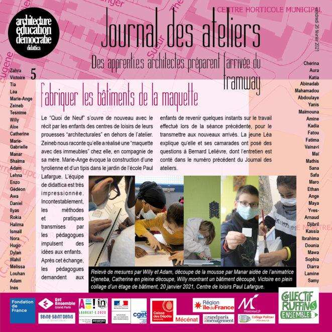 Couverture du numéro 5 du Journal des ateliers © association didattica