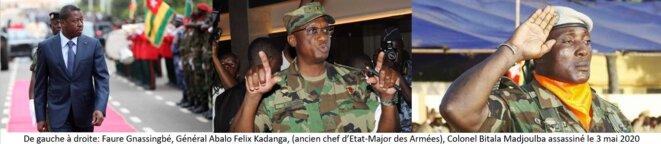 De gauche à droite : Faure Gnassingbé, Général Abalo Felix Kadanga, Colonel Bitala Madjoulba assassiné le jour même de l'investiture de Faure Gnassingbé, dans la nuit du 3 au 4 mai 2020 dans son bureau de l'Etat-Major des Forces armées togolaises