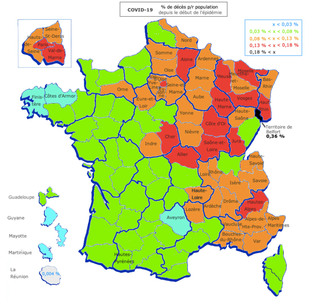 Carte des % de décès ds au COVID, ramenés à la population départementale © AB
