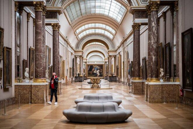 Le Louvre fermé en raison de la pandémie, le 8 janvier 2021. © Martin Bureau/AFP