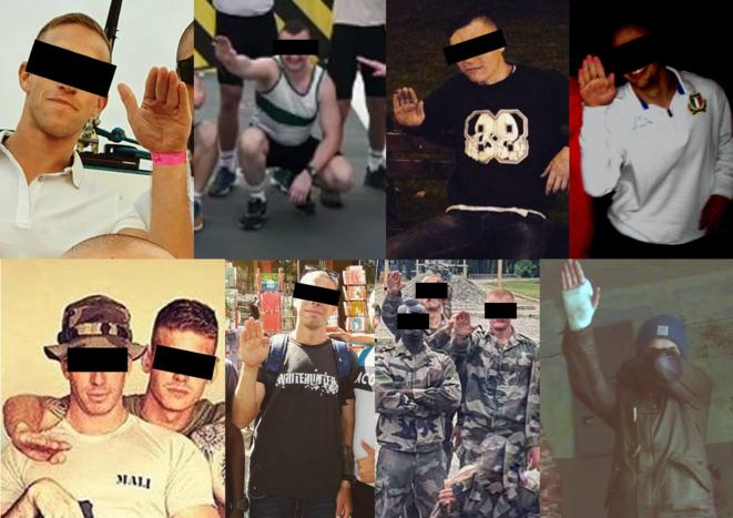 Montage effectué à partir de captures d'écrans sur les réseaux sociaux. Les soldats qui effectuent des saluts nazis sur les réseaux sociaux privilégient des gestes avec le seul avant-bras tendu. © Mediapart