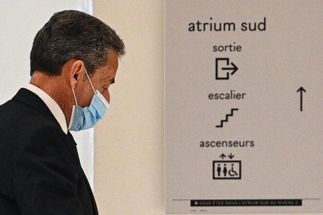 Nicolas Sarkozy, le 1er mars 2021, au tribunal de Paris. © Anne-Christine POUJOULAT / AFP