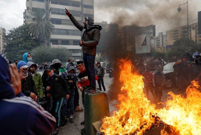 Une manifestation anti-gouvernementale au Liban le 28 janvier 2021. © Joseph Eid/AFP