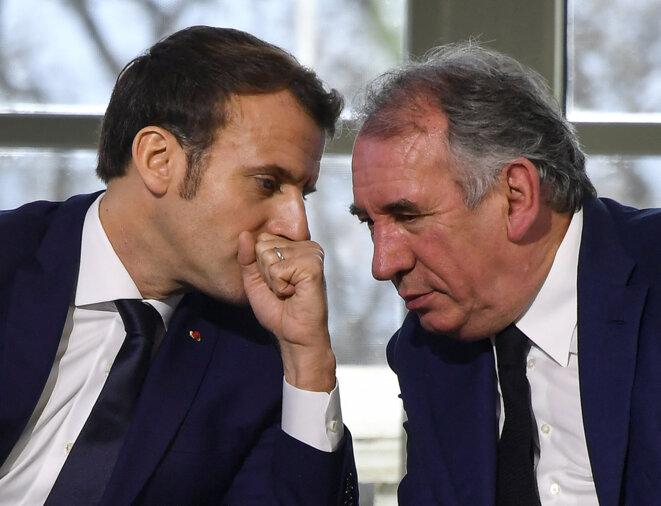 Emmanuel Macron et François Bayrou, en janvier 2020. © Georges Gobet/AFP/Pool