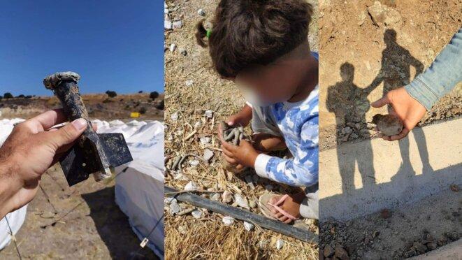 Les réfugiés ont retrouvé des balles, une grenade à main et des projectiles de mortier dans le camp. © Réfugiés du camp 2020/2021