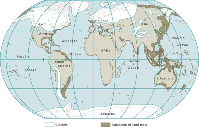 Continents lors de la dernière ère glaciaire