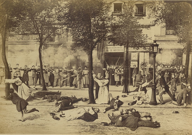A photomontage of the execution of Dominican priests from Arcueil at route d'Italie in Paris, May 25th 1871. © Eugène Appert