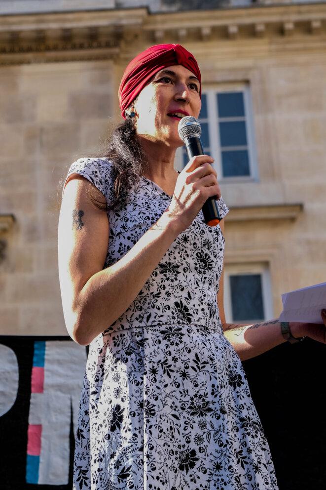 Jena Selle au rassemblement pour la PMA le 21 février 2021 © https://www.instagram.com/aurel.arnd/