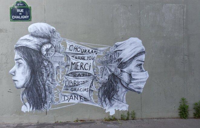 Un graffiti de l'artiste Ardif sur le mur de l'Hôpital Saint Antoine, AP-HP, Paris © Ardif