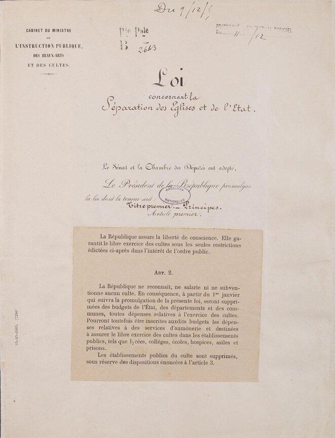 Loi de séparation de l'Eglise et de l'Etat de 1905, p.1, Archives Nationales