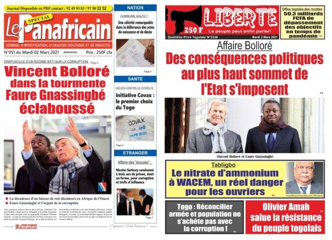 L'affaire Bolloré a la une des quotidiens togolais Le Panafricain et Liberté le 2 mars 2021