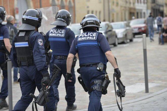 """Police municipale de Reims le 18 mai 2019, lors de l'acte 27 des """"gilets jaunes"""". © L'Union"""