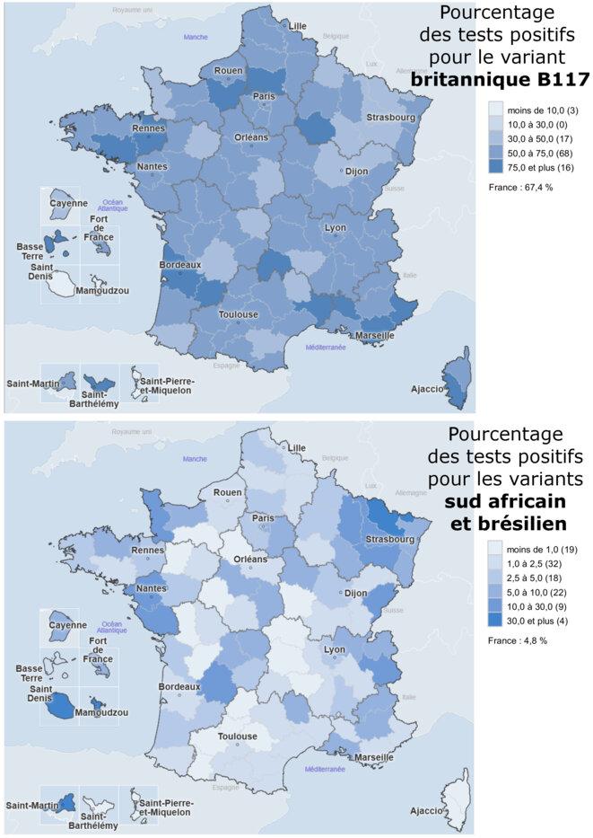 Pourcentage de tests positifs pour les variants au 8 mars 2021 © Alan Emrey avec données de Geodes Santé Publique France
